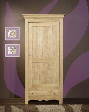 Armario Gabriel de  1 puerta y 1 cajón fabricado en madera de roble macizo estilo rústico