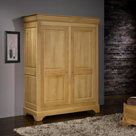 Armario de 2 puertas Salome fabricado en madera de Roble macizo estilo Louis Philippe