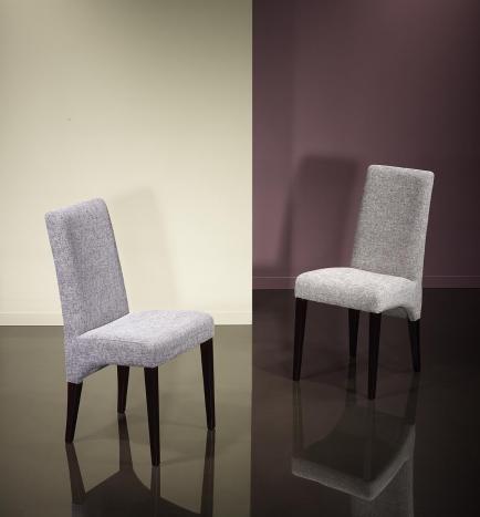 Silla Loann, asiento y respaldo tapizados