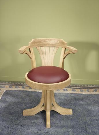 Silla de escritorio giratorio fabricado en madera de roble macizo estilo Louis Philippe