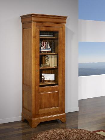 Armario vitrina  Alejandra de 1 puerta fabricado en madera maciza de cerezo al estilo Louis Philippe