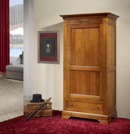 Armario Saul de 1 puerta y 2 cajones fabricado en madera de Cerezo macizo estilo Directoire
