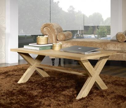 Mesa de centro rectangular Jules fabricada en madera de roble macizo en estilo Rústico