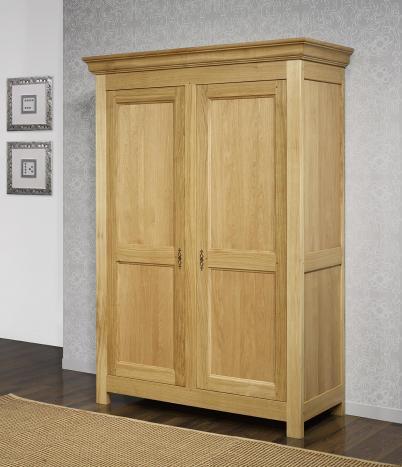 Armario de 2 puertas fabricado en madera de roble macizo en estilo Rústico