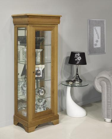 Armario vitrina plateros de 1 puerta y 1 cajón fabricado en madera de roble macizo al estilo Louis Philippe
