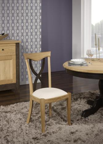 Silla Sebastián fabricada en madera de  roble macizo estilo Louis Philippe acabado roble cepillado