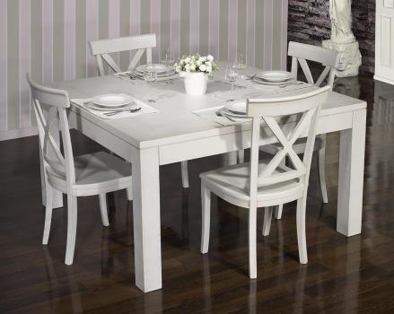 Mesa de comedor cuadrada fabricada en madera de roble macizo 140x140 estilo contemporáneo