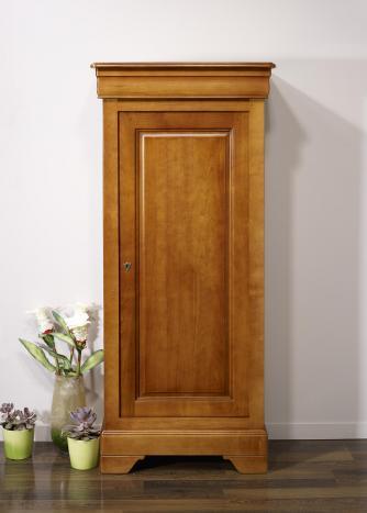 Armario de 1 puerta fabricado en madera de cerezo macizo estilo Louis Philippe acabado Cerezo Dorado