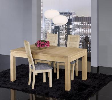 Mesa de comedor rectangular Telmo 160x100 fabricada en madera de Roble macizo estilo Contemporáneo acabado cepillado natural