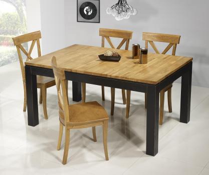 Mesa de comedor rectangular Theo 160x100 fabricada en madera de roble macizo  estilo contemporáneo VERSIÓN ecológico y bicolor