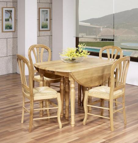 Mesa de comedor redonda Fabio 120cm diámetro fabricada en madera de roble macizo al estilo Louis Philippe con 7 extensiones