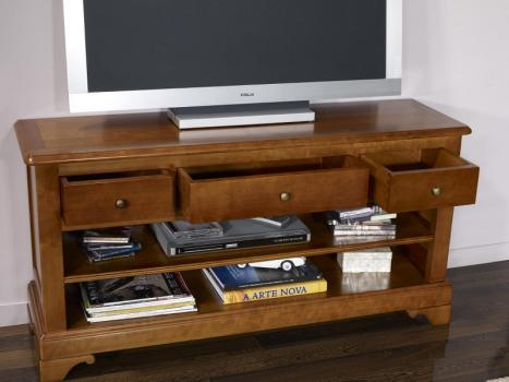 Mueble TV 16/9 Gabriel fabricado en madera de Cerezo macizo al estilo Louis Philippe