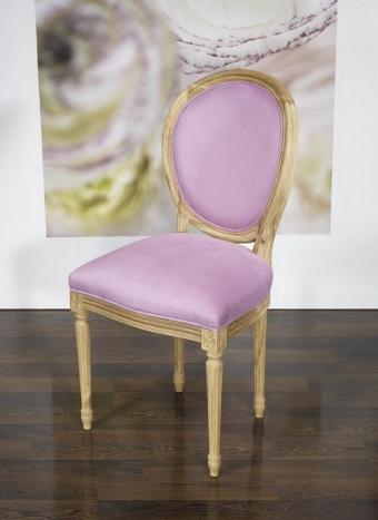 Silla Simón fabricada en madera de roble macizo en estilo Luis XVI asiento tejido lila