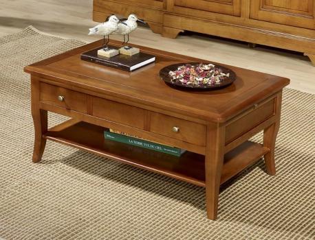 Mesa de centro rectangular Paule fabricada en madera de cerazo macizo al estilo Louis Philippe