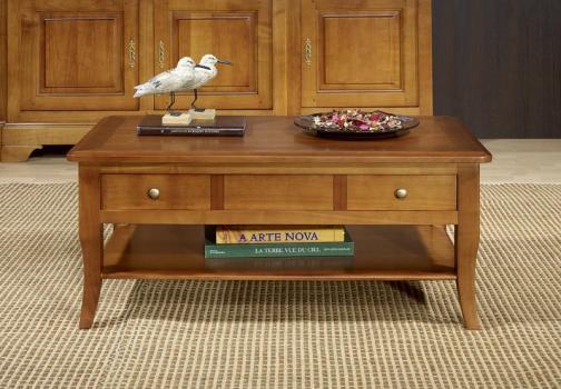 Mesa de centro rectangular Alba fabricada en madera de cerezo macizo al estilo Louis Philippe