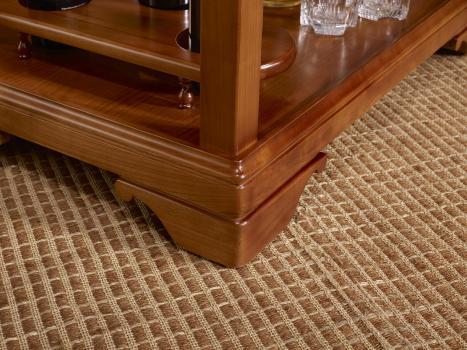 Mesa de servir con ruedas fabricada en madera de cerezo macizo en estilo Louis Philippe con 1 cajón