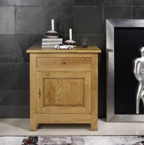 Armario de 1 puerta  y 1 cajón fabricado en madera de roble macizo en estilo rústico