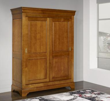 Armario de 2 puertas CORREDERAS fabricado en madera de cerezo macizo al estilo Louis Philippe