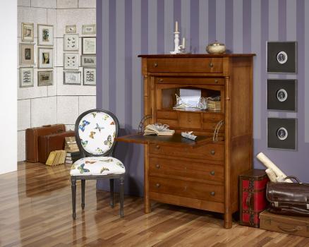 Secretaria estilo francés Elise fabricada en madera de cerezo macizo estilo del imperio
