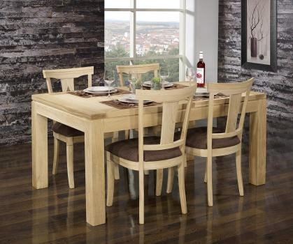 Mesa de comedor rectangular de 160x100 Javier fabricada en madera de roble macizo Línea Contemporánea