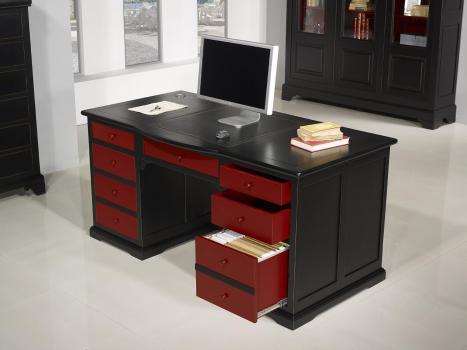 Escritorio Dimitri fabricado en madera de roble macizo estilo Louis Philippe especial pátina envejecida Negro y Rojo