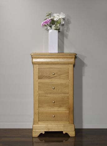 Cajonera fabricada en madera de roble macizo al estilo Louis Philippe
