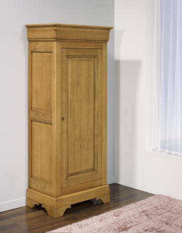Armario de 1 puerta fabricado en madera de roble macizo estilo Louis Philippe