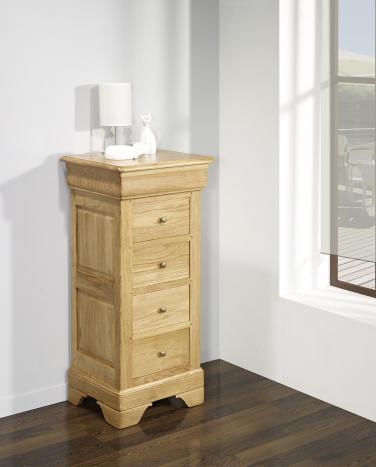 Cajonera Anastasia fabricada en madera de roble macizo al estilo Louis Philippe