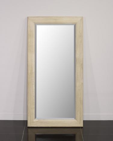 Espejo de cristal biselado 120x60 fabricado en madera de roble macizo acabado cepillado blanqueado