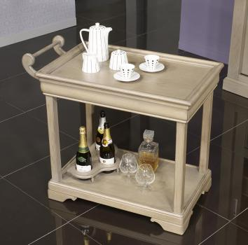 Mesa de servir con ruedas fabricada en madera de roble macizo en estilo Louis Philippe con 1 cajón