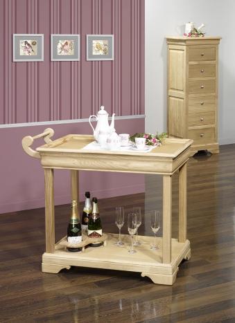 Mesa de servir con ruedas fabricada en madera de roble macizo estilo Louis Philippe con 1 cajón