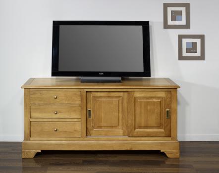 Mueble TV Arnaldo fabricado en madera maciza de roble al estilo Louis Philippe puertas corredizas