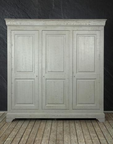 Armario Luis de 3 puertas Luis fabricado en madera de roble macizo estilo Louis Philippe