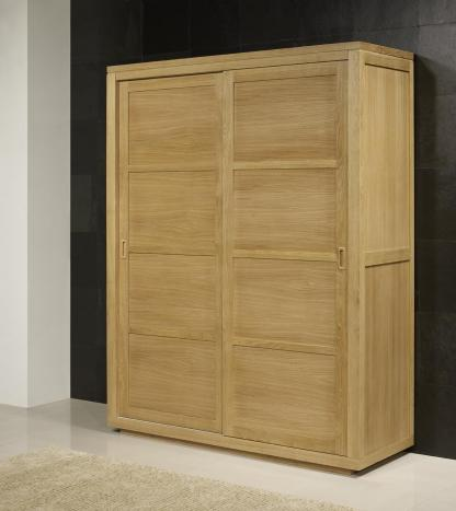 Armario Julio de 2 puertas correderas fabricado en madera de roble macizo estilo contemporáneo
