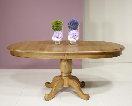 Mesa de comedor ovalada  170x100 fabricada en madera de roble macizo al estilo Louis Philippe + 3 extensiones de 40 cm