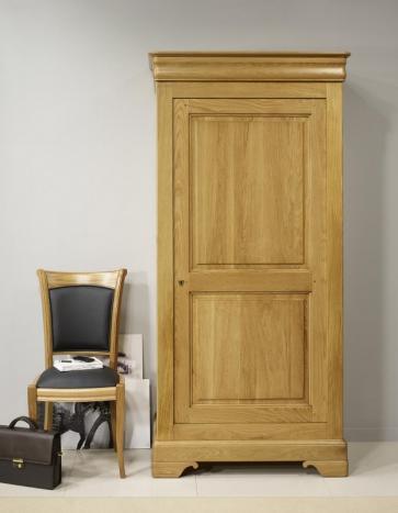 Armario Pablo de 1 puerta fabricado en madera de roble macizo en estilo Louis Philippe