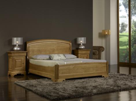 Cama Jean-Baptiste fabricada en madera de roble macizo al estilo Louis Philippe 140x190