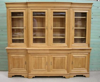 Biblioteca 2 cuerpos 4 puertas cuerpo fabricada en madera de roble macizo al estilo Louis Philippe