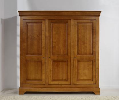 Armario de 3 puertas Anna fabricado en madera de cerezo macizo al estilo Louis Philippe