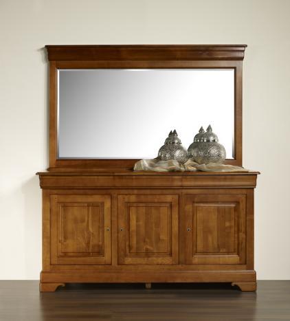 Espejo de cristal biselado 180x115 fabricado en madera de cerezo macizo en estilo Louis Philippe