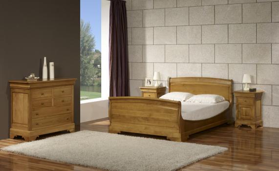 Cama Thomas fabricada en madera de roble macizo al estilo Louis Philippe 140x190