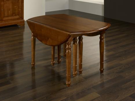 Mesa de comedor redonda diámetro 120 cm fabricada en madera de cerezo macizo al estilo Louis Philippe + 7 extensiones de 40 cm