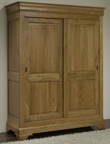 Armario Jean-Baptiste de 2 puertas correderas fabricado en madera de roble macizo estilo Louis Philippe
