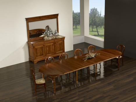 Mesa de comedor redonda, fabricada en madera de cerezo macizo al estilo Louis Philippe + 7 extensiones de 40 cm