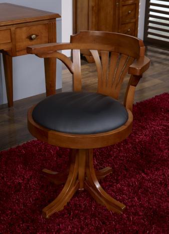 Silla de escritorio giratoria Emilio fabricado en madera de Haya maciza al estilo Louis Philippe