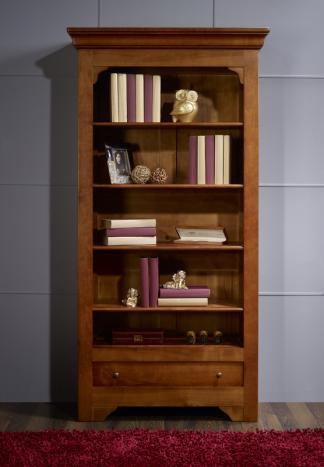 Estante librería Sandrine fabricada en madera de cerezo macizo al estilo Louis Philippe