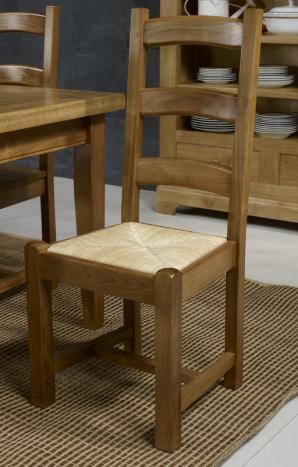 Silla fabricada en madera maciza de roble estilo rústico Asís paja de centeno
