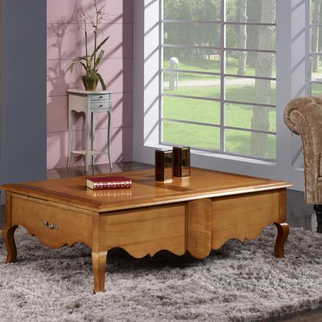 Mesa de centro rectangular Agnès fabricada en madera de cerezo macizo en el estilo Luis XV