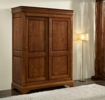 Armario Clara de 2 puertas fabricado en madera de cerezo macizo en estilo de Louis Philippe PUERTAS CORREDERAS
