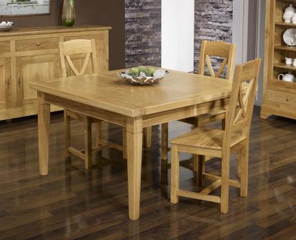 Mesa de comedor cuadrada fabricada en madera de roble macizo 130x130 estilo contemporáneo + 2 extensiones de 40cm